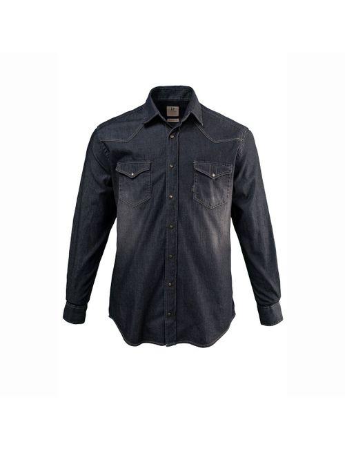 JP1880 | Мужская Серая Рубашка Из Денима С Длинными Рукавами