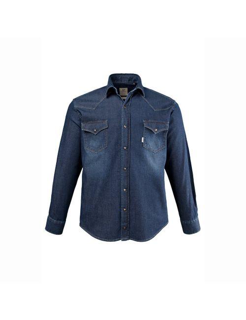 JP1880 | Мужская Выбеленная Рубашка Из Денима С Длинными Рукавами