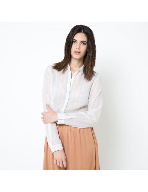 LAURA CLEMENT | Женская В Полоска Рубашка Из Хлопковой Вуали С Легким Блеском