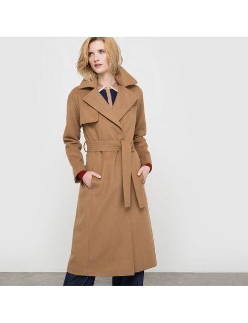 atelier R | Женское Бежевое Пальто Длинное Из Шерстяного Драпа 63 Шерсти