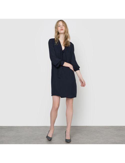 R essentiel | Женское Синее Платье Из Вуали С Галстуком