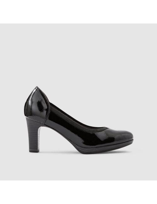 Tamaris | Женские Чёрные Туфли Лакированные На Высоком Каблуке