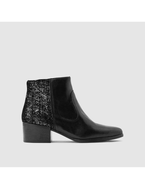 Tamaris | Женские Чёрные Ботинки Из Двух Материалов