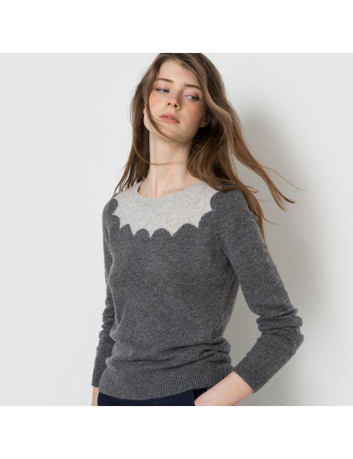 MADEMOISELLE R   Женский Серый Пуловер Двухцветный