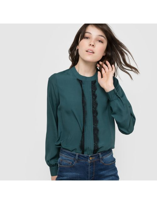 R édition | Женская Зелёная Блузка Из Кружевной Ткани