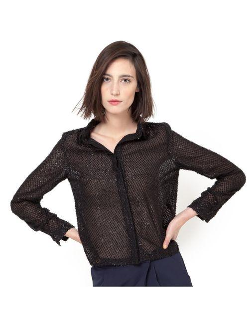 Suncoo | Женская Черный Рубашка Lara Прозрачная С Вышивкой Гладью