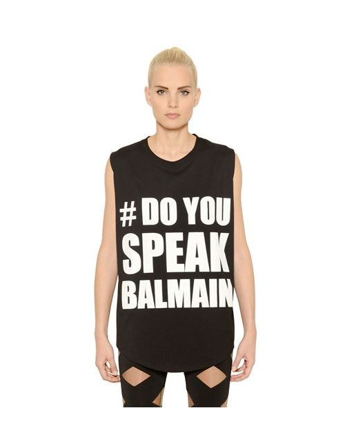 Balmain | Женская Футболка Do You Speak Из Хлопкового Джерси
