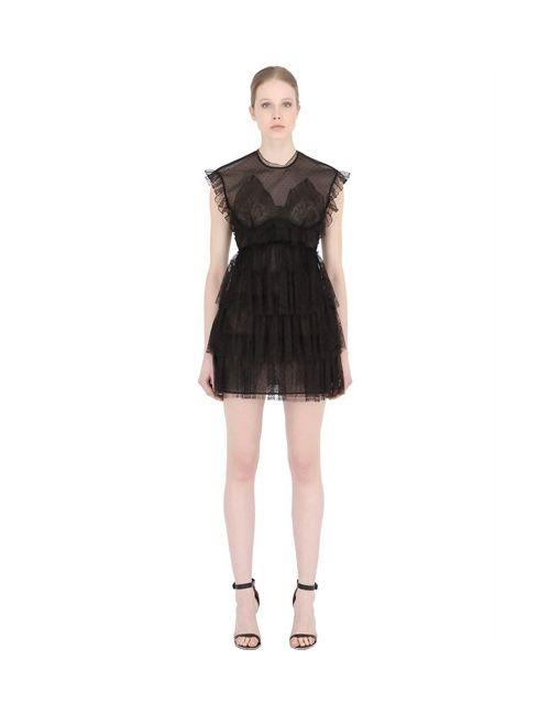Francesco Scognamiglio   Женское Мини-Платье Из Прозрачного Тюля С Рюшами