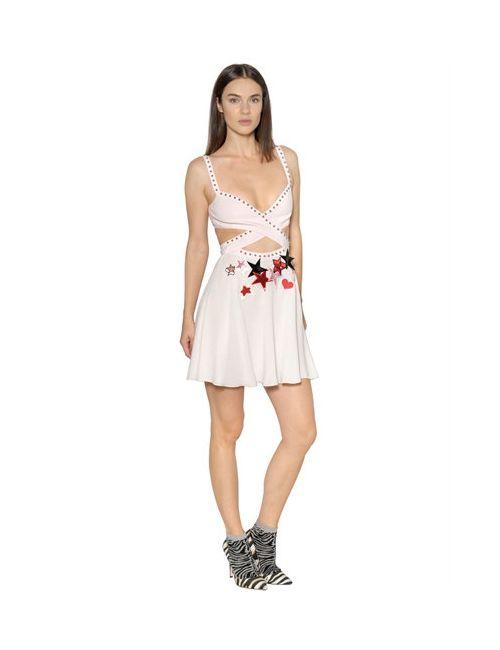 GIAMBA | Женское Платье Из Шифона И Крепа С Вышивкой