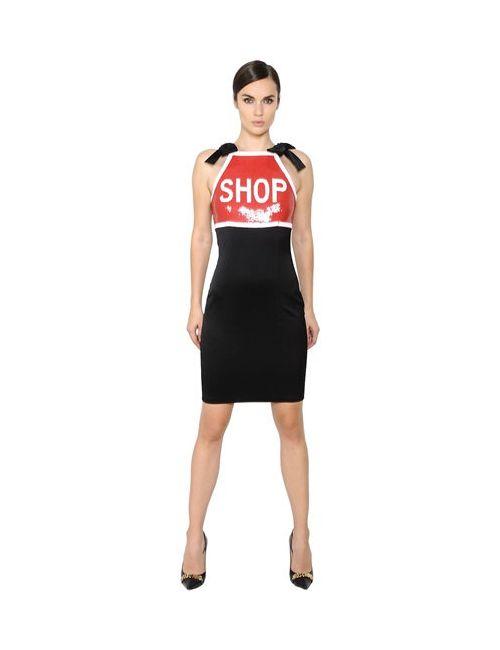 Moschino | Женское Платье Из Стрейч Атласа С Пайетками
