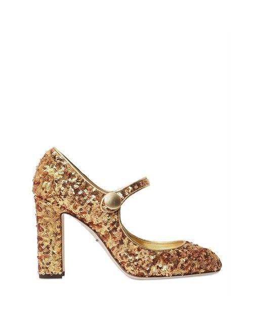 Dolce & Gabbana | Женские Туфли Mary Jane С Пайетками 90mm