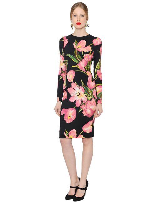 Dolce & Gabbana   Женское Платье Из Вискозного Стретч Кади С Принтом