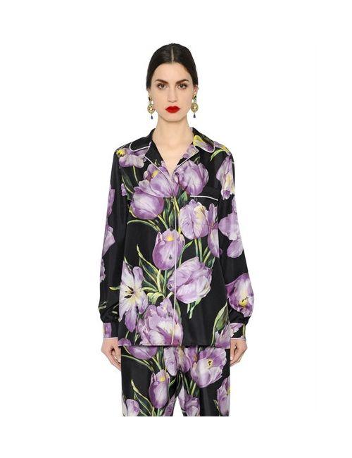 Dolce & Gabbana | Женская Рубашка Из Шёлковой Саржи С Принтом Тюльпаны