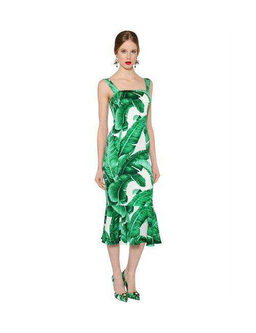 Dolce & Gabbana | Женское Платье Из Стретч Шёлка Шармез С Принтом