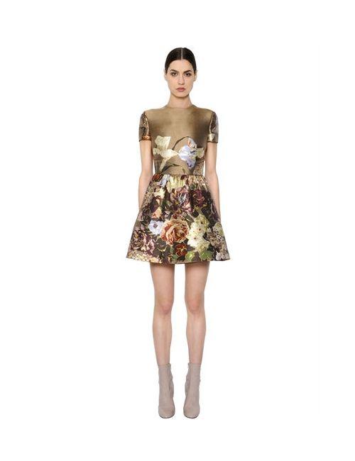 Valentino | Женское Платье Из Шёлка Шантунг С Цветочным Принтом