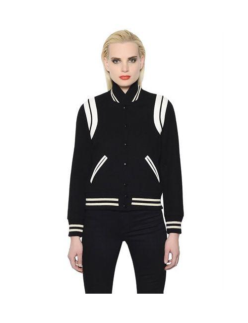 Saint Laurent | Женская Куртка-Бомбер Из Шерстяного Фетра Модель Teddy
