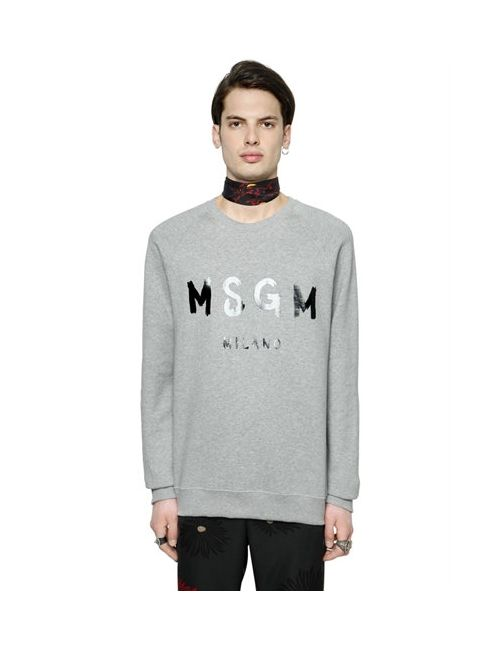 MSGM | Мужской Хлопковый Свитшот С Виниловым Логотипом