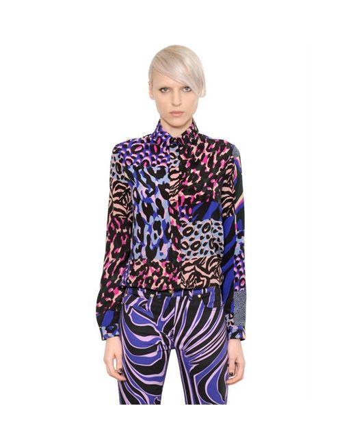 Versace | Женская Рубашка Из Шёлкового Крепдешина С Принтом