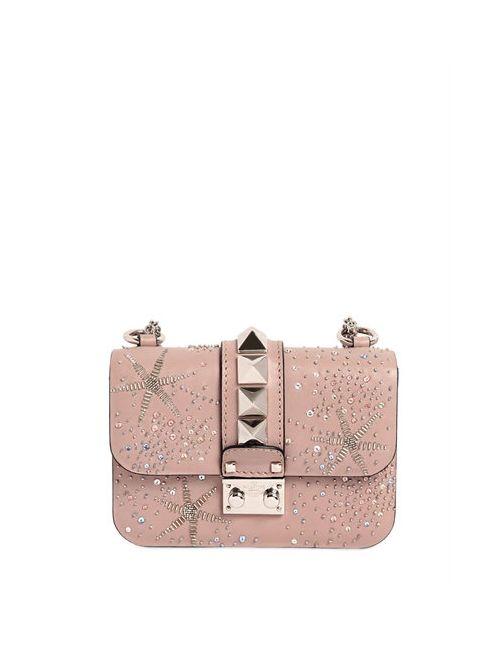 Valentino | Женская Кожаная Сумка Lock С Бисерной Вышивкой