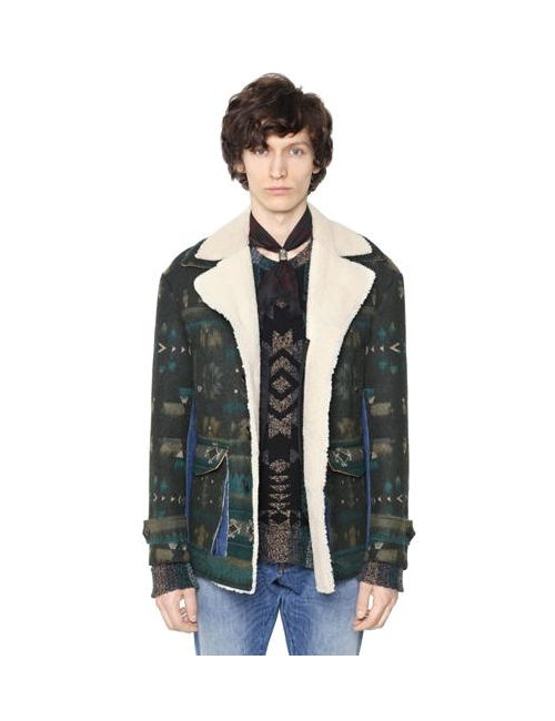 Valentino | Мужское Пальто Из Шерстяного Жаккарда И Овчины