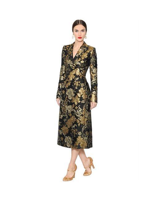 Dolce & Gabbana | Женское Двубортное Пальто Из Парчи И Органзы