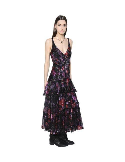 Etro | Женское Платье Из Шёлка-Деворе С Принтом И Рюшами