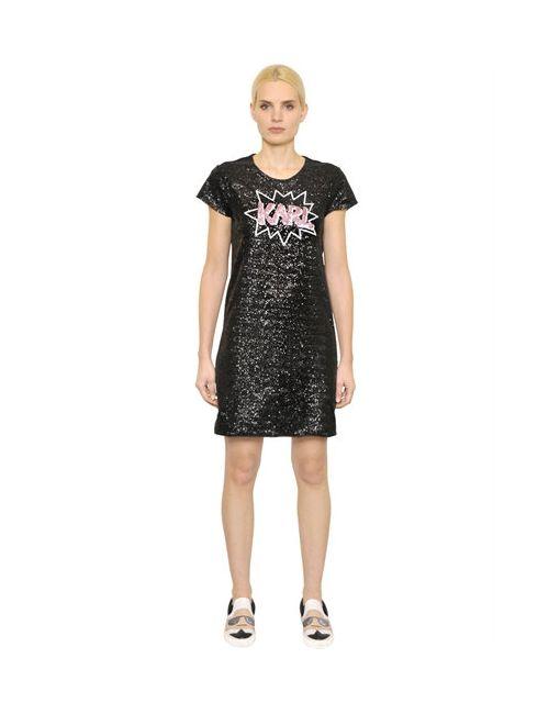 Karl Lagerfeld | Женское Платье Karl Pop Из Джерси С Пайетками