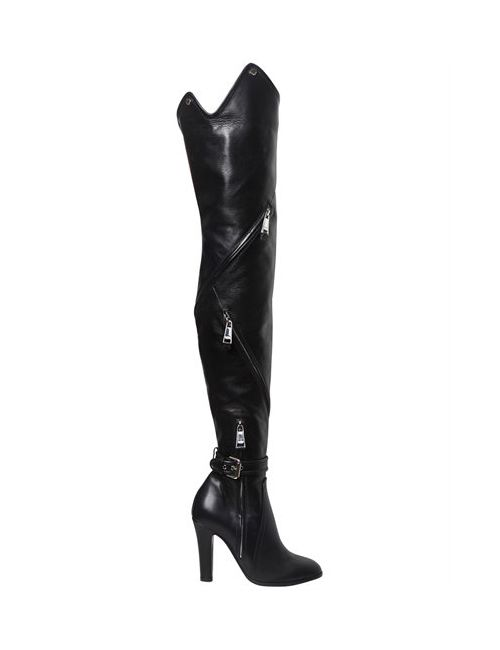 Moschino | Женское 100mm Zips Leather Over The Knee Boots