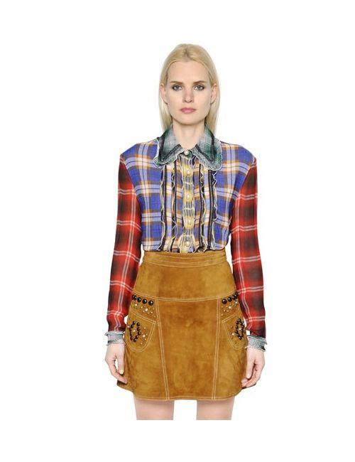 COACH 1941 | Женское Женщины Ruffled Plaid Wool Gauze Chiffon Shirt