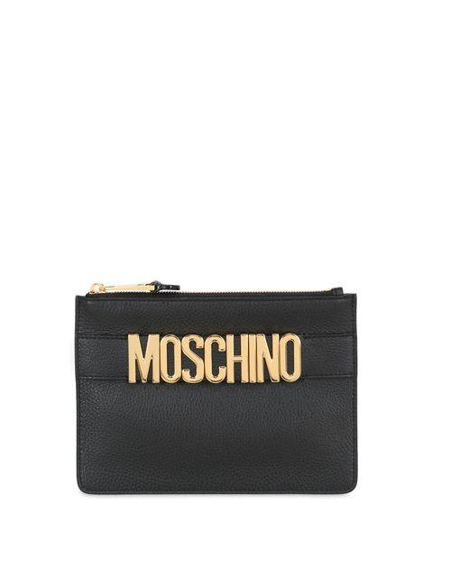 Moschino | Женский Кожаный Клатч С Логотипом