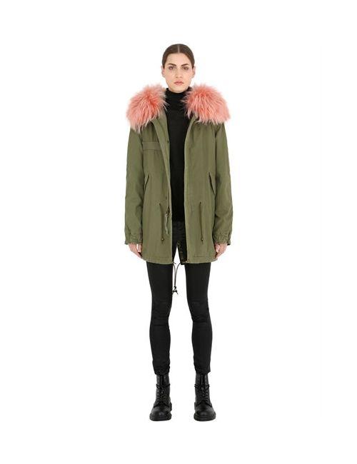 MR & MRS Italy | Розовый Cotton Canvas Parka With Murmansky Fur