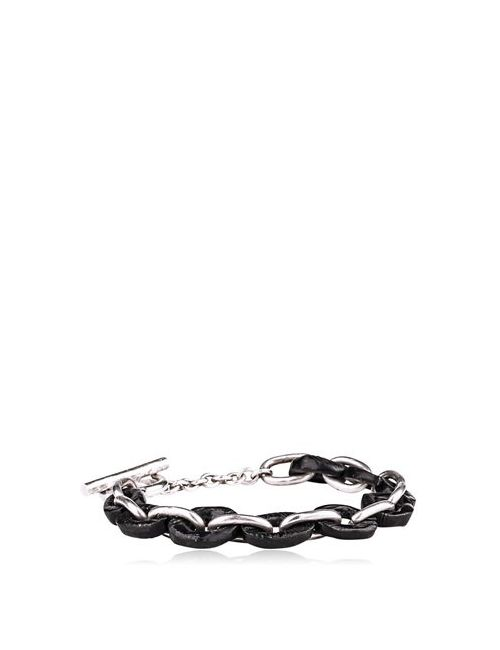 HENSON | Чёрный Carved Horn Silver Links Bracelet