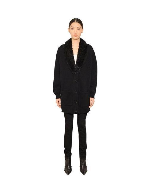 Givenchy | Чёрный Beaver Fur Cashmere Knit Cardigan