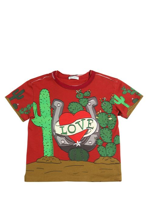 Dolce & Gabbana | Красный Love Printed Cotton Jersey T-Shirt