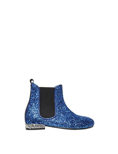 Simonetta | Синий Maxi Glittered Leather Ankle Boots