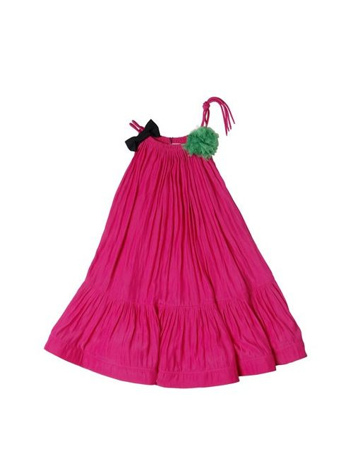 LANVIN PETITE | Charmeuse Party Dress With Bow Pompom