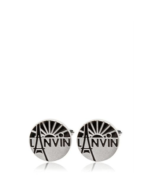 Lanvin | Серебристый Engraved Enameled Brass Cufflinks