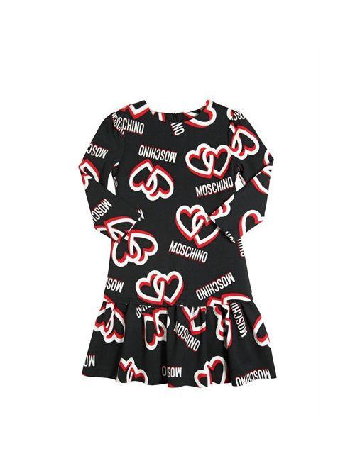 Moschino | Чёрный Heart Logo Printed Milano Jersey Dress
