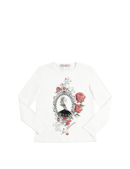 Miss Blumarine | Белый Embellished Cotton Jersey T-Shirt