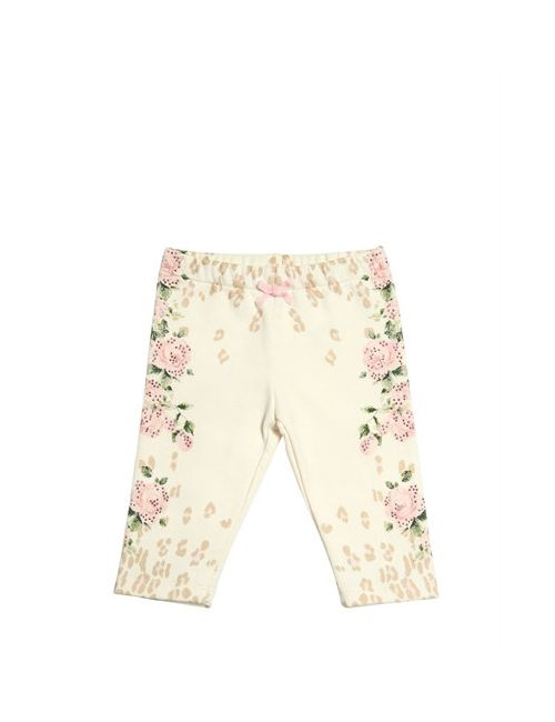 Miss Blumarine | Cream Printed Embellished Cotton Leggings
