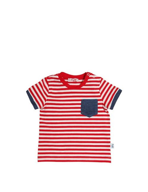 Il Gufo | Белый Striped Cotton T-Shirt With Pocket