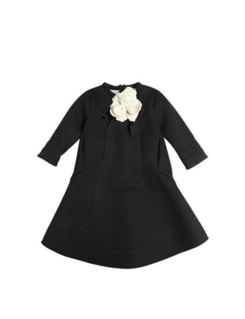 Simonetta | Черный Neoprene Dress W/ Flower Bow Pin