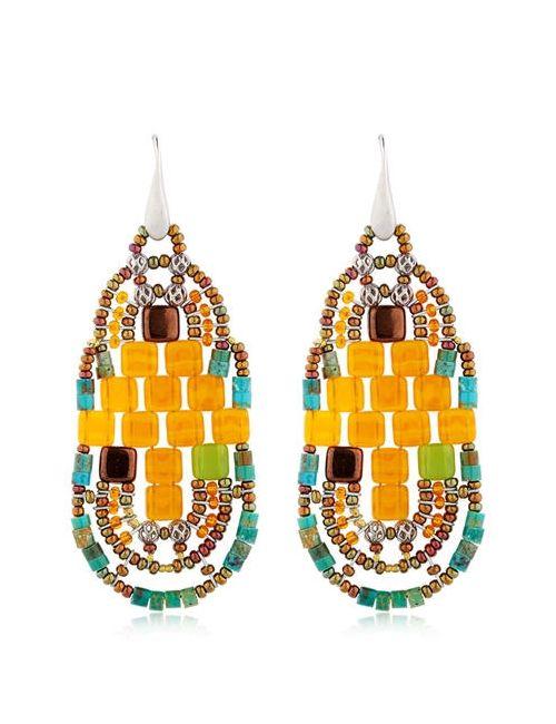 ZIIO | Оранжевый Pixel Beaded Earrings