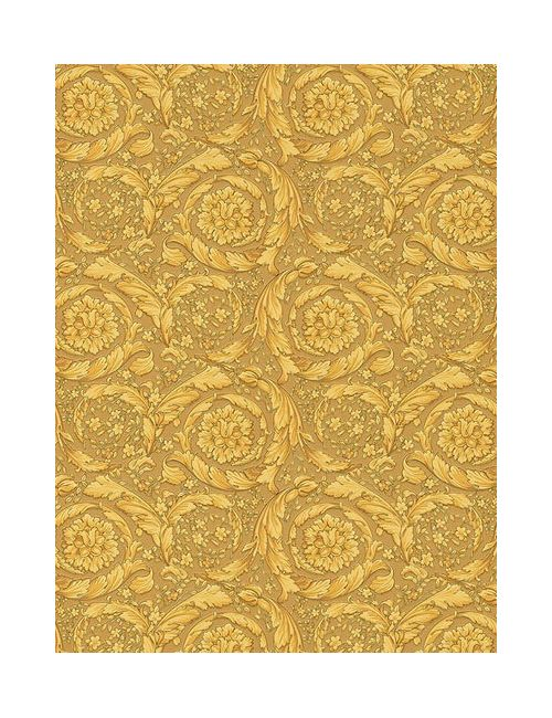 Versace | Золотой Barocco Flowers Wallpaper
