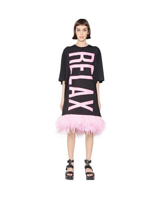Omelya | Черный Relax Cotton Jersey Ostrich Dress