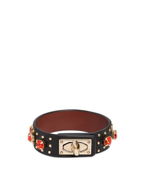 Givenchy | Чёрный Leather Bracelet With Rhinestones