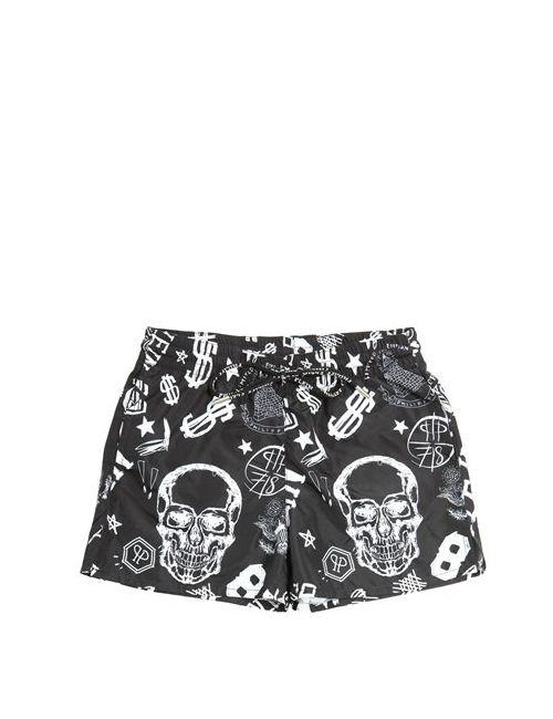 PHILIPP PLEIN JUNIOR | Чёрный Skull Printed Nylon Swimming Shorts