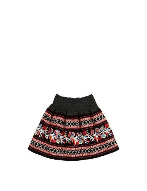 Lm Lulu | Чёрный Embroidered Velvet Skirt