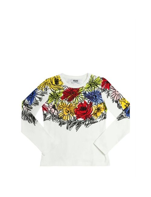 Moschino | Белый Flowers Printed Cotton Jersey T-Shirt