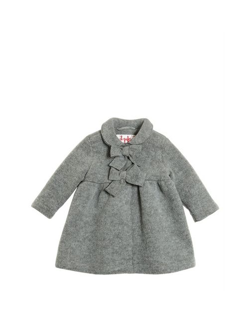 Il Gufo | Серый Wool Blend Fleece Coat W/ Bows